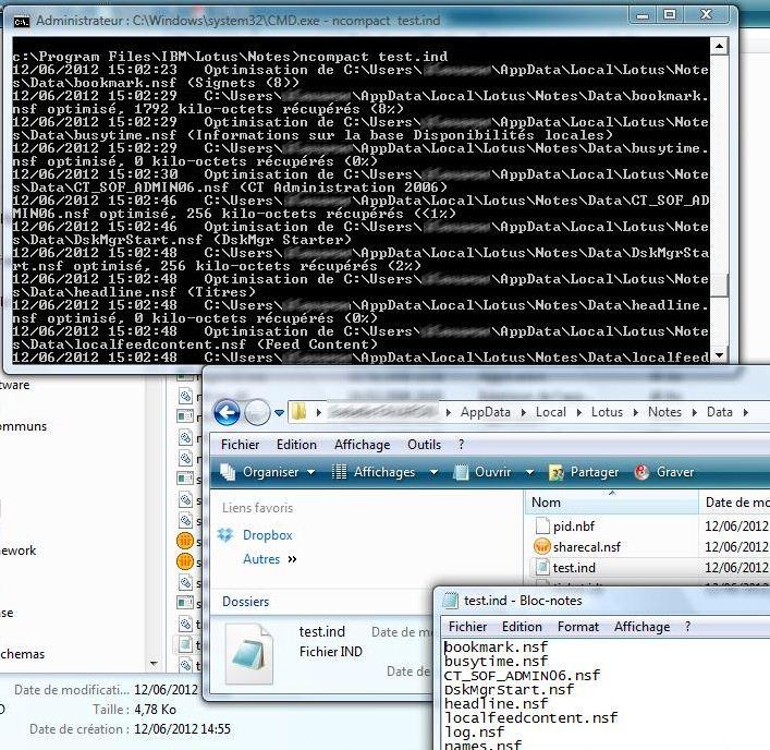 Exemple d'un lancement de compactage avec un fichier IND